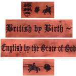 "British by Birth, English by the Grace of God Embossed Full Grain Leather Belt . 1½"" (38mm) Wide"